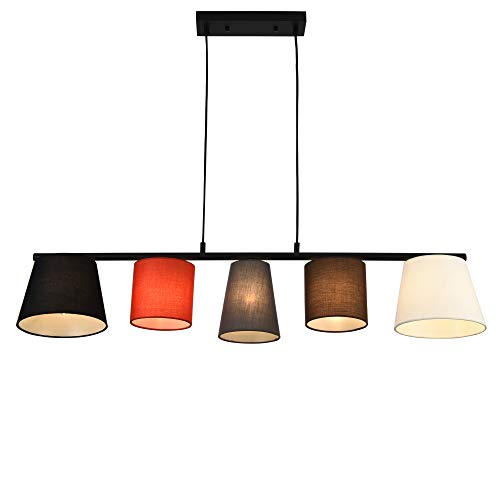 lux.pro] Lampada da Soffitto a 5 Luci Lampada a Sospensione Paralume Tessuto Multicolore E14 40W