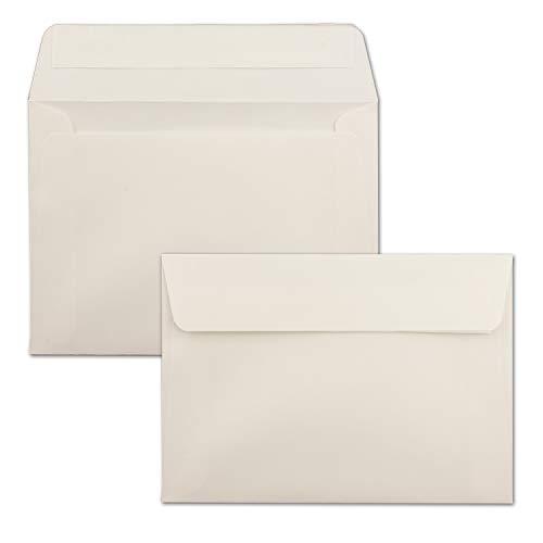 50x Briefumschläge Natur-Weiß DIN C6 Format 11,4 x 16,2 cm - Haftklebung - Kuverts ohne Fenster - Weihnachten, Grußkarten & Einladungen - Für A6 & A4 Papier