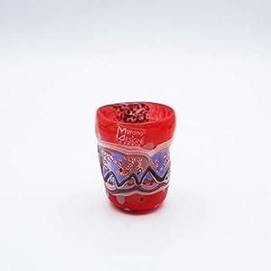 Vaso estilo: bocetos licor, rojo de cristal de Murano abierto a mano, envuelto con manchas y hilos opacos fundidos en su interior. Original Murano Glass. Fabricado en Italia (8 cm)