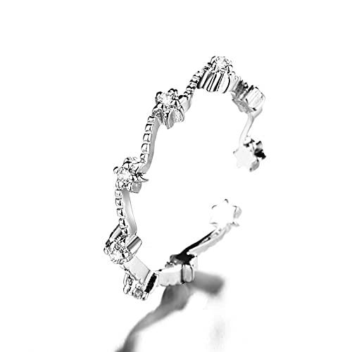 Cielo Lleno De Estrellas Anillo Femenino Pequeño Regalo Coreano Fresco Intermitente Diamante Ola Apertura Anillo Femenino Ajustable