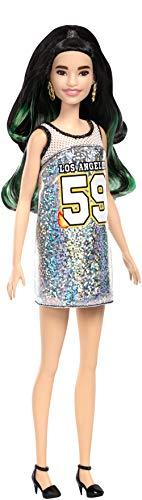 Barbie- Fashionistas Bambola con Vestito Argento Glitter, FXL50