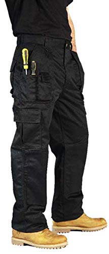 BKS Mens Combat Cargo Work Trousers Size 30 to 52 with Knee PAD Pockets (34 REG, Black)