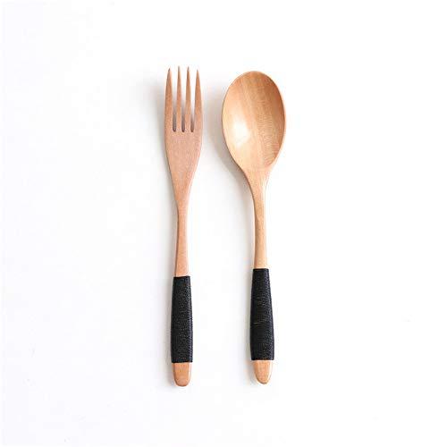 Vajilla de madera natural cuchara y tenedor kit de cena de arroz sopas utensilio Cereal hecho a mano Vajilla para el hogar Vajilla cubiertos para Kicthen (color: C)
