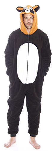#followme 6426-M-Racoon Adult Onesie Men's Pajamas