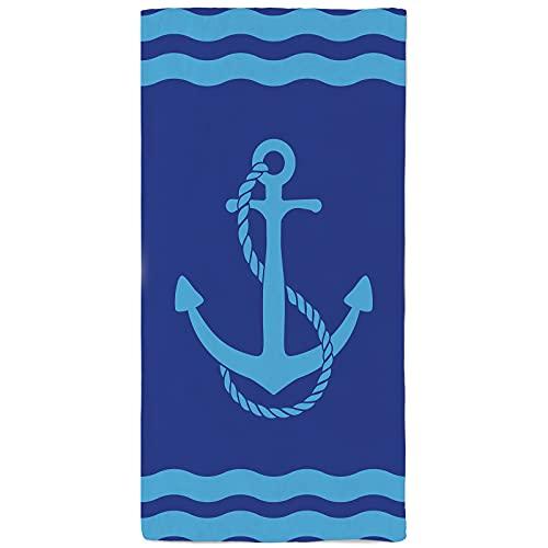 onetoze Toalla de Playa Ancla Ondas de Mar Microfibra Toallas Piscina Natación Seque Rápidamente Absorbente Toallas Ducha Acampada Viaje Picnic Regalos Personalizados 90x180cm, Océano Azul