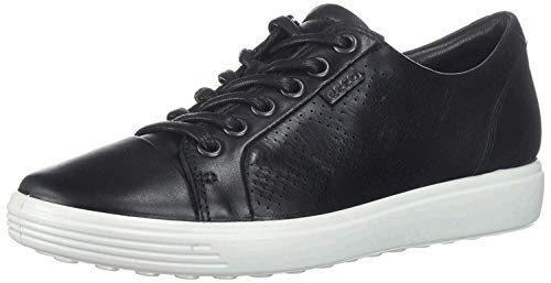 ECCO Women's Soft 7 Tie Fashion Sneaker, Black Nubuck Perforated, 7-7. 5