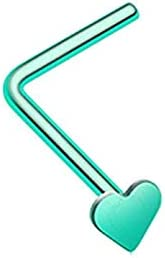 Covet Jewelry Colorline Steel Heart L-Shaped Nose Ring