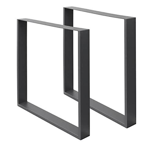 ECD Germany 2x Tischbeine aus Vierkantprofilen, 60 x 72 cm, Dunkelgrau, pulverbeschichtete Stahl, Industriedesign, Metall Tischkufen Tischuntergestell Tischgestell Möbelfüße, für Esstisch Schreibtisch