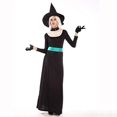 Fashion-Cos1 Schwarz Langes Kleid Erwachsene Halloween Hexe Kostüm Weihnachten Karneval Kleidung Fantasia Infantil Kostüm Vampire Cosplay