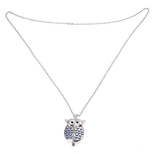 TOOGOO (R) Mini gufo Orologio da tasca Collare Collana argento e blu