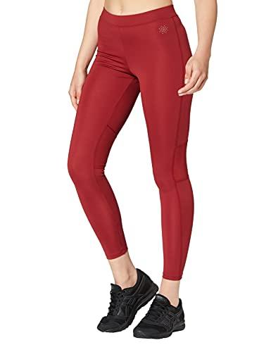 Marca Amazon - AURIQUE Mallas Largas de Deporte Mujer, Rojo (Red Dhalia), 38, Label:S