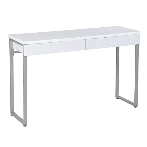 GreenForest Vanity Table 47'' Glossy White Console Table Computer Makeup Desk with 2 Drawers and Solid Metal Legs for Living Room Entryway Hallways