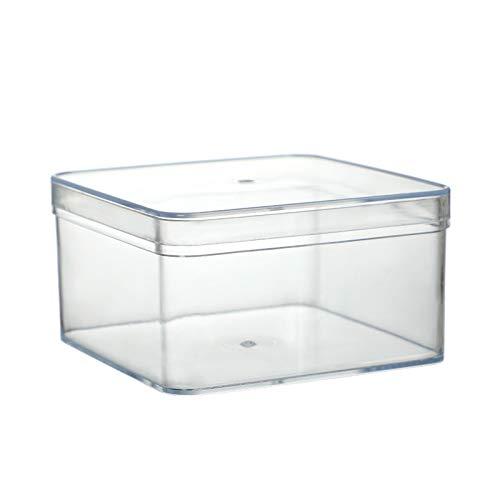 Taloit Caja de almacenamiento transparente organizador de escritorio con tapa de plástico cuadrado organizadores apilables contenedor de almacenamiento para regalo, especias, joyas, aperitivos, 520 ml