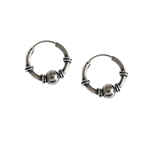 Bali Ball Bead Vintage S925 Steling Silver Endless Round Pendientes de aro pequeños para mujeres, hombres y niñas, aros Huggie de moda, hipoalergénicos, regalo de joyería perforada, 15 mm