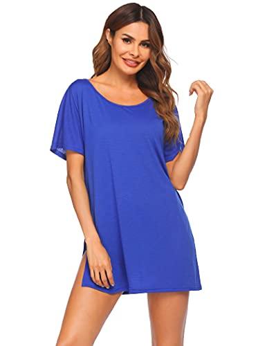 Ekouaer Vestido de playa para mujer, de manga corta, poncho de playa, cuello redondo, traje de baño para verano, tallas S-XXXL, azul cobalto, M