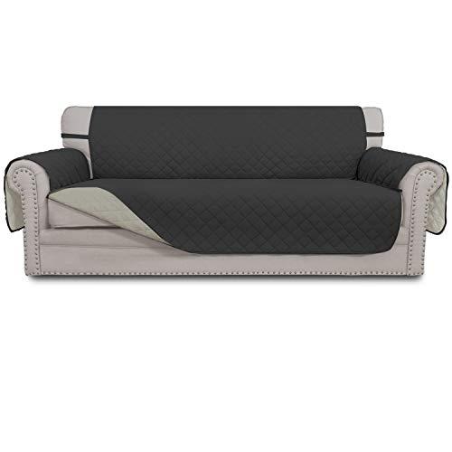 Easy-Going Sofa Slipcover Reversible Sofa-Abdeckung Möbel-Schutz Anti-Rutsch-Foams Dunkelgrau/Beige überdimensionales Sofa