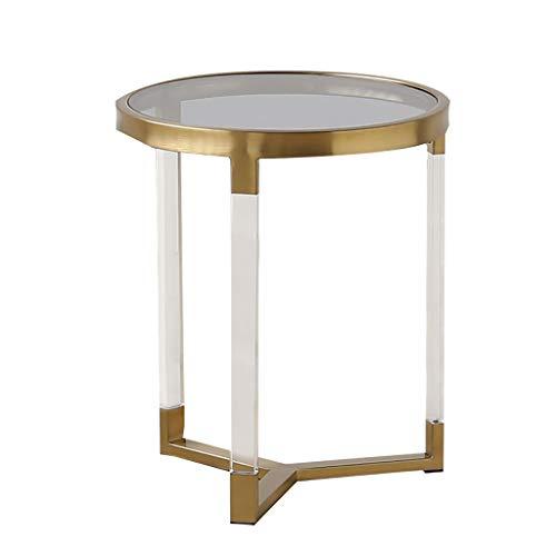 Petite table basse Gold Tempering Simple moderne en verre créatif Côté du canapé (taille : 38cm*50cm)