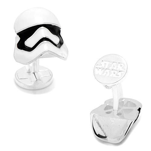 Manschettenknöpfe Star Wars Stormtrooper, 3D, Silber, Imperium-Logo auf der Rückseite, in Geschenkbox