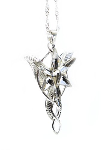 LOTR Lord Of The Rings Hobbit Arwen EVENSTAR Silver Color Necklace Crystal Pendant Prop Replica with Gift Bag