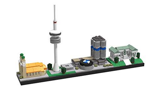 LEGO BOC Architektur Skyline München (D) modules Frauenkirche, Olympiaturm, Vierzylinder & Ruhmeshalle. Zusammengestellt von original Neuteile