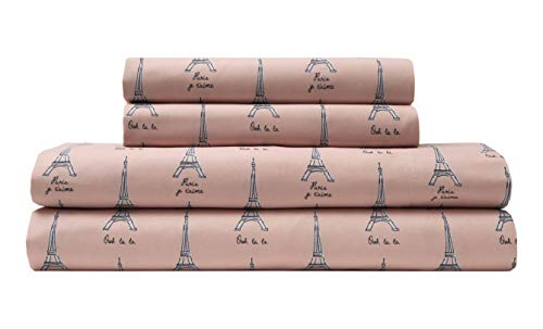 TORREY LANE Microfiber 90 GSM Printed Sheet Set, Twin, Pink Paris
