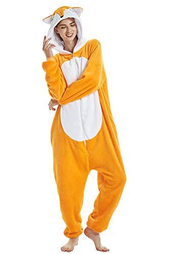 Crazy lin Unicorn Karikatur Overalls Pyjama Nachtwäsche Nacht Kleidung Dress Up, Maskerade Partei Kostüme (M, Fuchs)