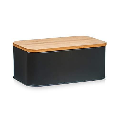 Zeller 25372 Boîte à Pain avec Couvercle en Bambou, métal, Noir Mat, Autre, Multicolore, 31 x 18 x 12,5 cm
