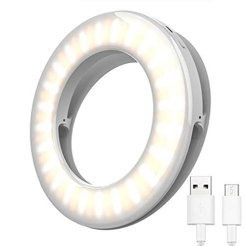 Ring Light for Laptop, Laptop Light for Video Conferencing, Selfie Ring Light for Phone - 3 Light Modes Rechargeable, Adjustable Brightness Small Clip On Ring Light for Phone Computer Webcam