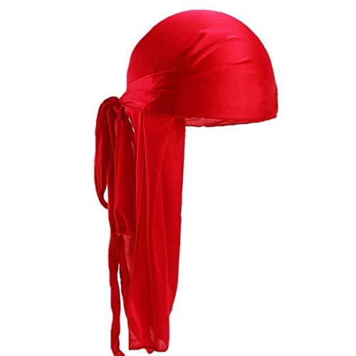 Unisex Deluxe Sedoso Durag Extra Larga Cola Headwraps Pirata Tapa del Cabezal Color Sólido Wrap Cap Turbante para Hombres De Las Mujeres
