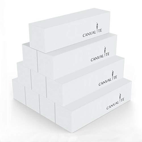 Canvalite 10Pcs White Nail Buffer Block with Nail Brush, 120 Grit...