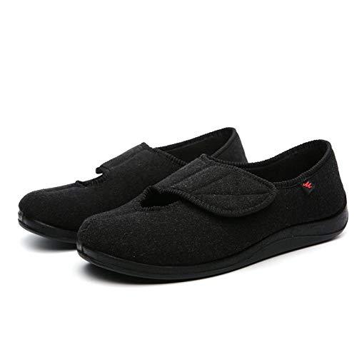 Diabetische wandelschoenen voor heren Ademende sneakers, diabetische voetschoenen van middelbare en oudere leeftijd, verstelbaar voor zwelling en verwijding van de voet - UK9_Carbon zwart, diabetische pantoffel