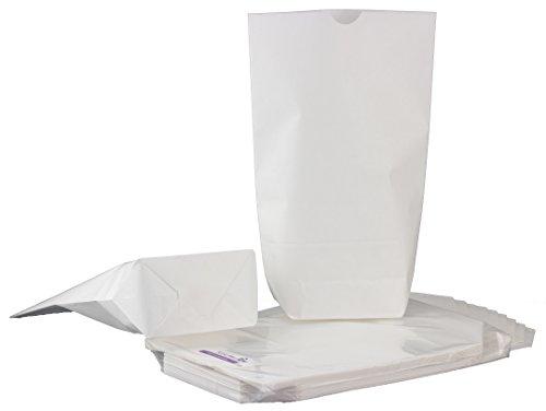 KuschelICH 25 weiße Papiertüten mit Boden - 16,5 x 26 cm - Extra stabile Premium Qualität - für Geschenktüten, Gastgeschenke, Mitgebsel, DIY Adventskalender, Kreuzbodenbeutel zum Basteln (25 Stk.)