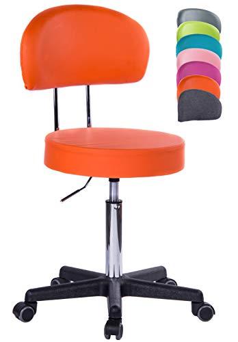 1stuff® Profi Rollhocker Rollstuhl Squash XL - 40cm Sitzbreite - bis 180kg - Höhe bis ca. 70cm - Arzthocker Arbeitshocker Bürohocker Drehhocker (Lederimitat orange - Lehne Bigback)