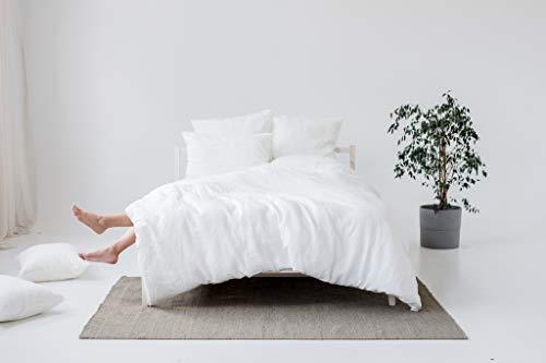 My Linen Home Set Copripiumino / Biancheria da Letto in Lino Lavato (100 % StoneWashed) Bianco, 1...