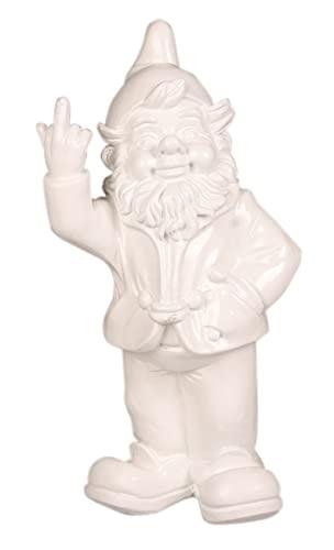 Stone-Lite Figur - Gartenzwerg mit Stinkefinger - 20 cm - weiß - lustiges Geschenk