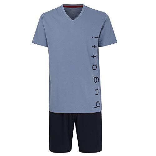 Bugatti Herren Schlafanzug, kurz, Pyjama, edel, bequem, bügelfrei (M (50), mediumblau)