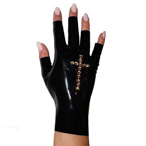 Rubberfashion kurze Latex Handschuhe, fingerlose Latexhandschuhe bis zum Handgelenk mit Studs Kreuz nicht chloriert für Frauen und Herren 1 Paar schwarz L