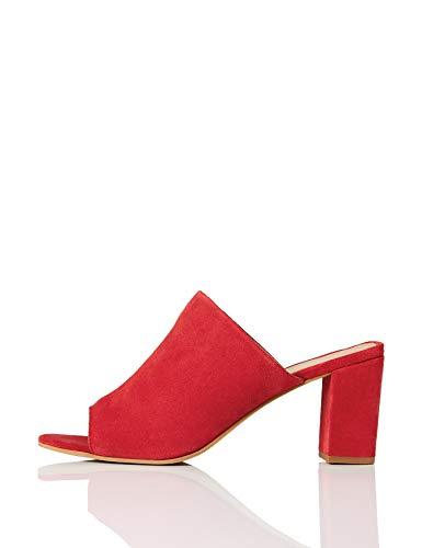 find. Mules Damen mit offener Ferse und Blockabsatz, Rot (Dark Red), 38 EU
