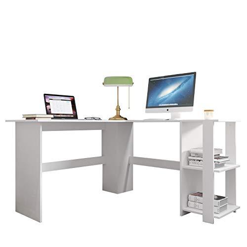 SDHYL - Scrivania angolare per computer a forma di L, 130 x 89,9 cm, per studio, postazione di lavoro, per casa, ufficio, con libreria aperta, colore: Bianco