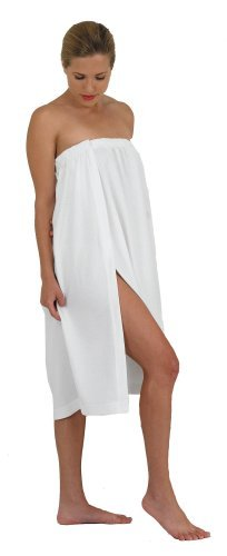 Canyon Rose Waffle Weave Long Spa Wrap, Simple Body Wrap, Luxurious Waffle Weave Knit, One Size Fits Most, Generous Length, Elasticized Top with Touch-and-close Fasteners at Top and Waist, White