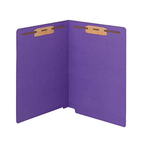Smead WaterShed/CutLess End Tab Fastener File Folder, Reinforced Straight-Cut Tab, 2 Fasteners, Letter Size, Purple, 50 per Box (25550)