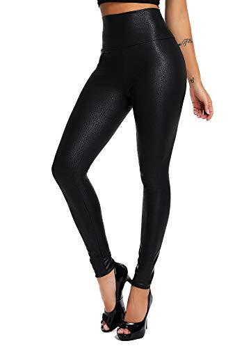 INSTINNCT Damen Kunstleder High Waist Leggings Skinny PU Leder Hose Leder-Optik Strumpfhosen Treggings Schwarz (Schlangenhaut Muster) M