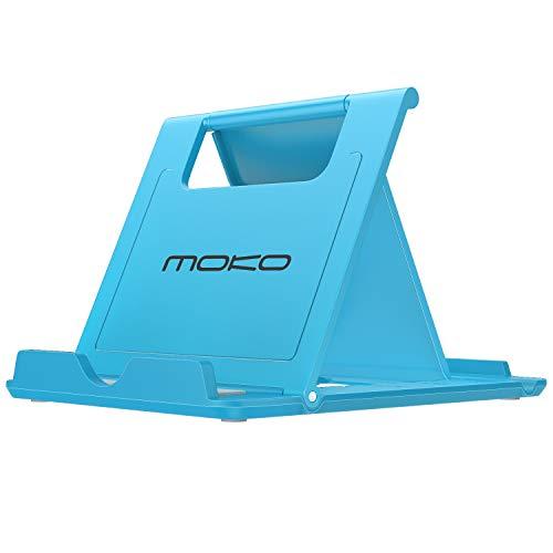"""MoKo Portatile Pieghevole Supporto per Smartphone, Tablet (6-8"""") e E-Reader, Adatto a iPhone 12 Mini/iPhone 12/iPhone 12 PRO/iPhone 12 PRO Max, iPhone 11 PRO Max/11 Pro/11, iPad Mini 5/4, Azzurro"""