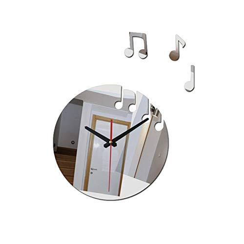 FengLi121 Large Clocks For Walls Modern Living Room Still Life Wall Clock Sticker Quartz Needle Watch Home Decoration Sale 3d Acrylic Mirror Wall Clocks (Color : Silver)