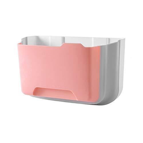 HDGKTYEL Cubos de Basura para la Cocina Montado en la Pared Plegable Bols de residuos Cocina Gabinete Puerta Colgante Papelera de Basura Coche Basura Basura Blue Blue (Color : Pink)