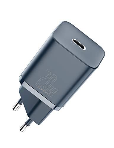 Baseus Super Si 20W Cargador USB C, Cargador Tipo C Carga Rapida PD 3.0 para iPhone 12 12 Pro MAX 8 iPad Airpods etc, Adaptador de Cargador de Pared Ultracompacto QC 3.0 para Samsung Redmi Huawei etc
