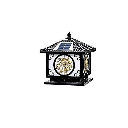 Tiop Lámpara solar de columna de cristal Black Square, lámpara de poste impermeable al aire libre, decoración de interiores