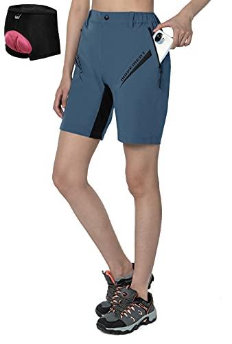 Cycorld MTB Hose Damen Fahrradhose, Mountainbike Hose mit Gepolstert, Schnelltrocknend MTB Shorts Damen Radhose Atmungsaktiv Radlerhose Outdoor Bike Shorts (Neu Pfauenblau, M)