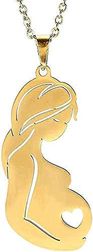 LKLFC Collar Hombre Collar Mujer Colgante Color Collar Color Oro Madre Madre Amor Acero Inoxidable Mujeres niñas Collar Colgante joyería Regalos Collar Niños Niñas Regalo
