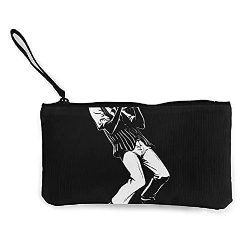 Unisex Make-up-Tasche aus Segeltuch, kleine Kosmetiktasche, Münztasche, für Reisen, Konzert, Performer, Jazz, Musik, Schwarz
